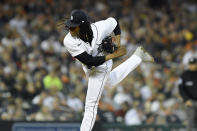 Detroit Tigers relief pitcher Jose Urena throws against the Kansas City Royals in the fifth inning of a baseball game, Friday, Sept. 24, 2021, in Detroit. (AP Photo/Jose Juarez)