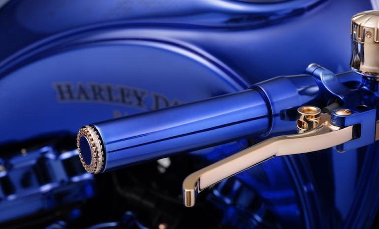 The hand levers are gold-plated and the bar-ends are diamond studded