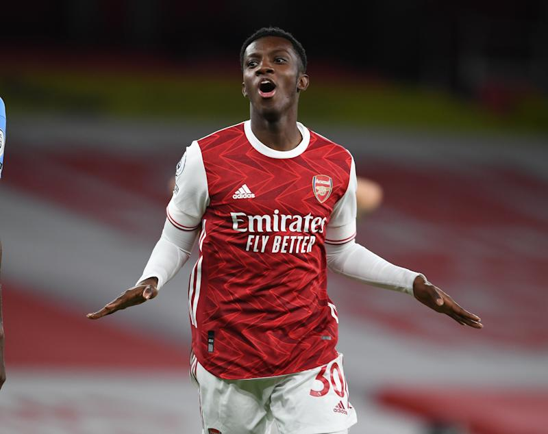 Eddie Nketiah is set to start for the Gunners (Arsenal FC via Getty Images)