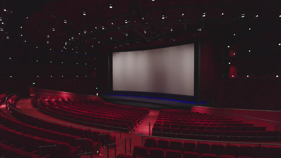One of two auditoriums at the Academy Museum of Motion Pictures, equipped to screen films in 35mm, 70mm and Dolby Vision laser projection, as well as nitrate prints. / Credit: CBS News