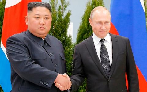 Russian President Vladimir Putin and North Korean leader Kim Jong-un meet in the far-eastern Russian port of Vladivostok  - Credit: AFP