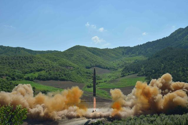 <p>The intercontinental ballistic missile Hwasong-14 is seen during its test launch in this undated photo released by North Korea's Korean Central News Agency (KCNA) in Pyongyang, July, 4 2017. (Photo: KCNA/via Reuters) </p>