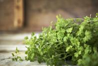"""<p>All fresh herbs taste even better in the spring, but parsley stands out. """"Parsley is so underrated!"""" says Wong. """"It's a mega source of vitamin C and vitamin A, and provides a good amount of potassium and iron, too. So it's great for your immune system, eyes, heart, and overall energy levels."""" She also pointed out that it doesn't only have to be used as a garnish: you can make tabbouleh salad with parsley, or you can even opt for a parsley pesto. </p>"""