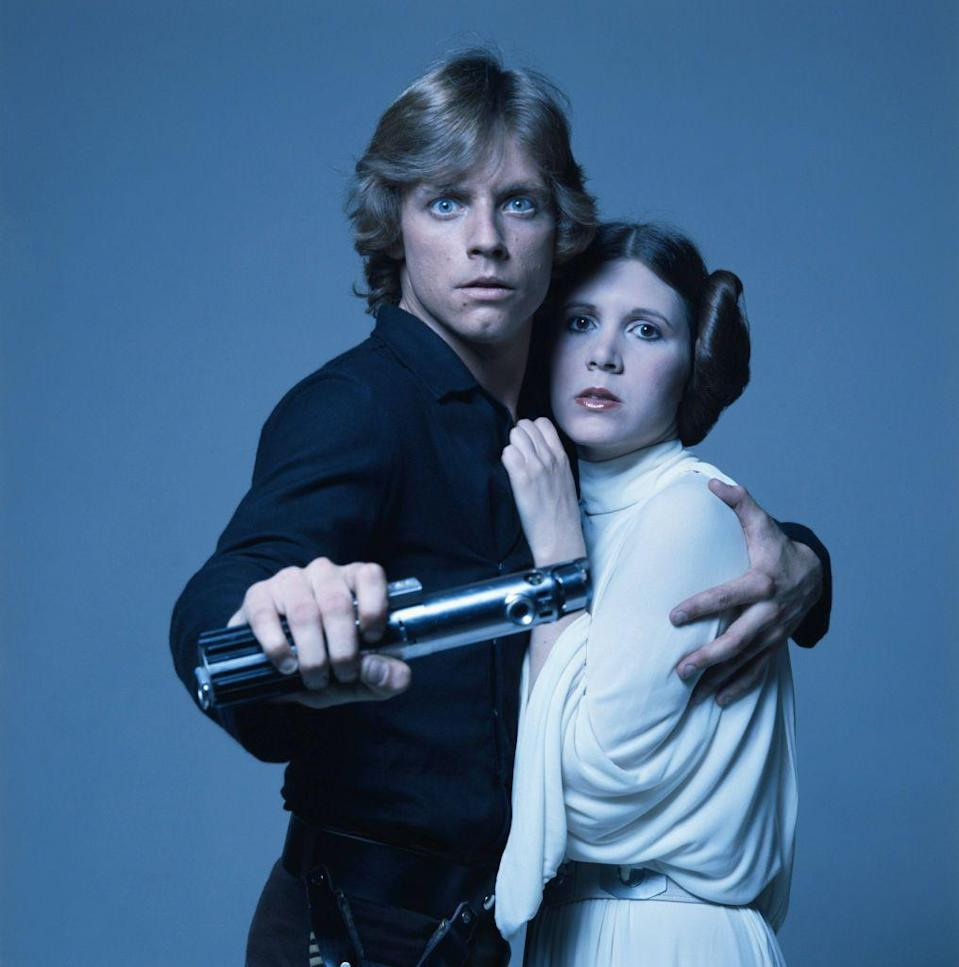 """<p>It makes sense that 6'1"""" Harrison Ford would call a young Luke Skywalker """"kid."""" Luckily for Skywalker, Leia actor Carrie Fisher stood at 5'1"""". </p>"""