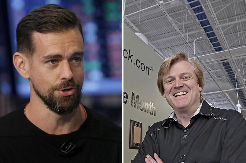 Square CEO Jack Dorsey (L), Overstock CEO Patrick Byrne, (Reuters/AP)