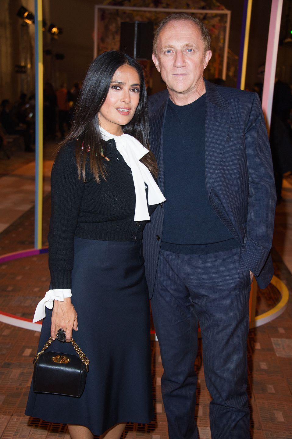 """<p><strong>How long they've been together: </strong>We know Hayek and Pinault met in 2006 at a charity gala in Venice and that they announced their pregnancy and engagement at the same time in 2007, but there isn't much more the couple is willing to share. """"It's such a romantic, amazing story, but it is mine. I don't want to vulgarize it by making it into a story to make myself interesting,"""" Hayek told <em><a href=""""https://www.townandcountrymag.com/leisure/arts-and-culture/a26414988/salma-hayek-interview-april-2019/"""" rel=""""nofollow noopener"""" target=""""_blank"""" data-ylk=""""slk:Town and Country"""" class=""""link rapid-noclick-resp"""">Town and Country</a> </em>in 2019. </p><p><strong>Why you forgot they're <strong>together</strong>: </strong>Hayek and Pinault are incredibly supportive of one another on the red carpet, but they like to create boundaries around their personal lives. </p>"""