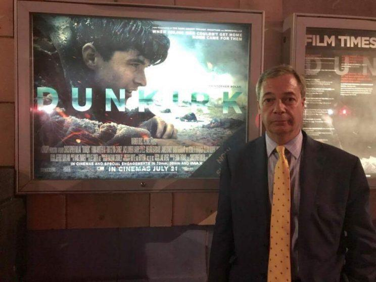 Farage… is being lampooned for his plea for youngsters to see Dunkirk – Credit: Twitter