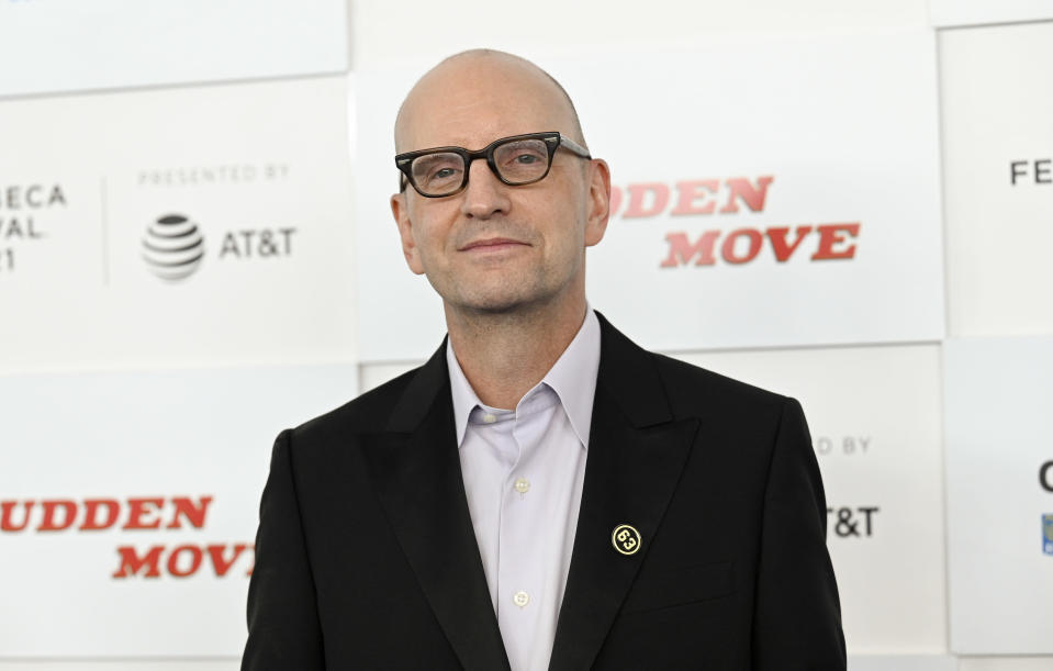 """Director Steven Soderbergh attends the """"No Sudden Move"""" premiere during the 20th Tribeca Festival at The Battery on Friday, June 18, 2021, in New York. (Photo by Evan Agostini/Invision/AP)"""