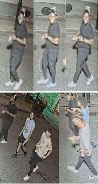 PHOTO:New Orleans Police released this grainy surveillance photo of a suspect wanted in a gunfight early Sunday, Aug. 1, 2021,on Bourbon Street in the heart of the city's French Quarter that left five people wounded and sparked panic in the tourist mecca. (New Orleans Police Dept. )