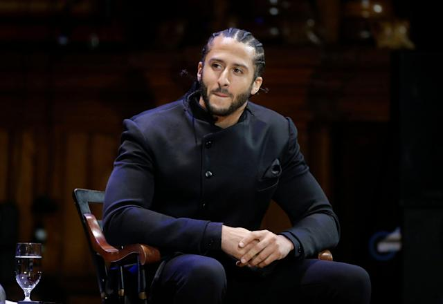 A 38-year-old retired quarterback is still getting job offers from the NFL while Colin Kaepernick remains unemployed. (AP Photo/Steven Senne, File)