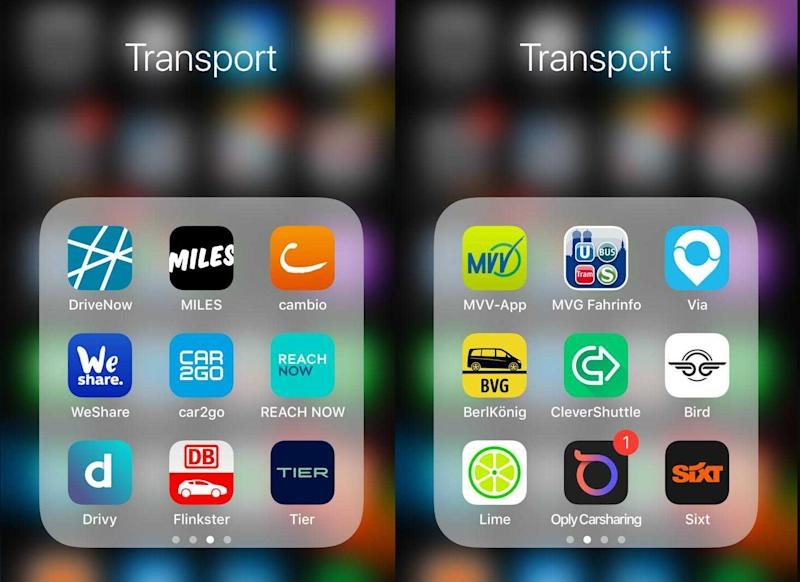 Two pages of apps from a Berliner's phone. There are four pages. (Yahoo Finance)