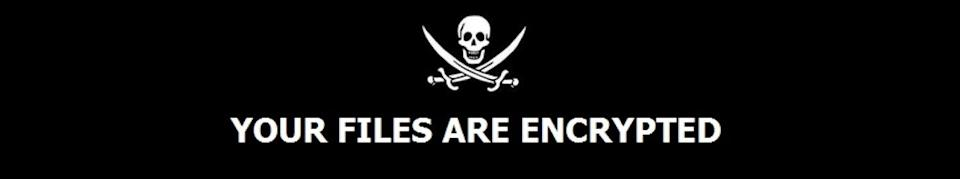 A skull and crossbones with a message that says Your files are encrypted on a black background