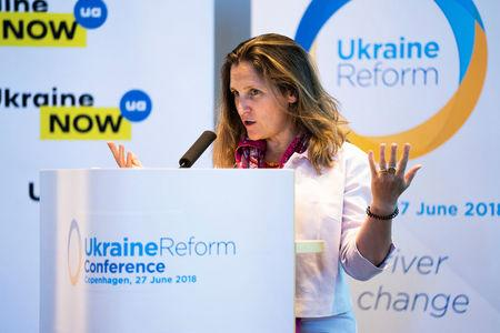 Canada's Foreign Minister Chrystia Freeland speaks during the international Ukraine Reform Conference in Copenhagen