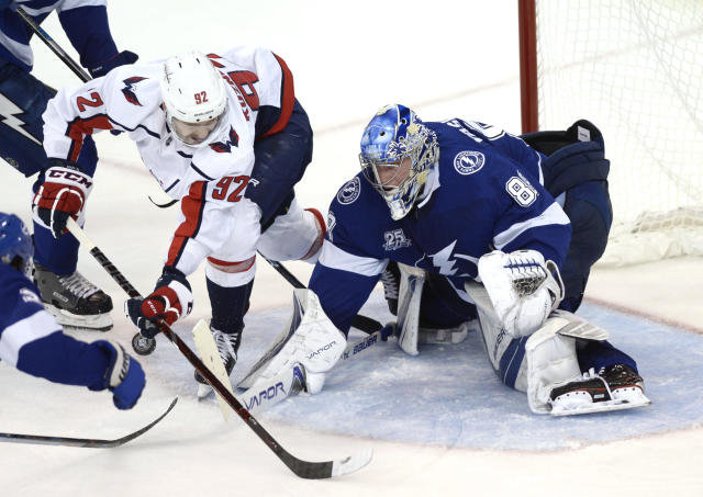 Tampa's tender appears to be single-handedly stealing this series from the Washington Capitals. (AP Photo/Jason Behnken)