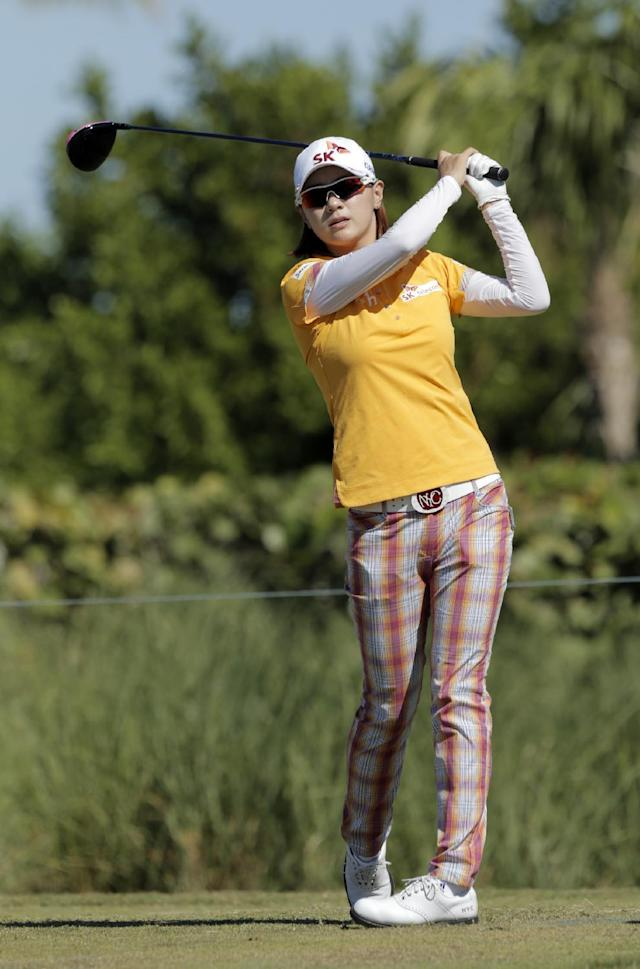 South Korea's Na Yeon Choi tees off during the last day of the LPGA Pure Silk Bahamas at the Classic Ocean Club Golf Course, Paradise Island, Bahamas, Sunday, Jan. 26, 2014. (AP Photo/Tim Aylen)