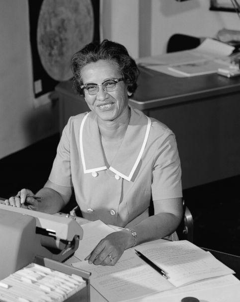 PHOTO: NASA space scientist, and mathematician Katherine Johnson poses for a portrait at work at NASA Langley Research Center in in Hampton, Va., circa 1966. (NASA/Donaldson Collection/Getty Images, FILE)