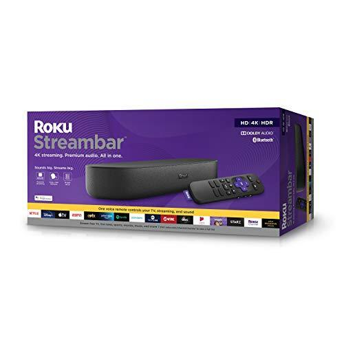 Roku Streambar 4K/HD/HDR Streaming Media Player & Premium Audio, All In One, Includes Roku Voic…