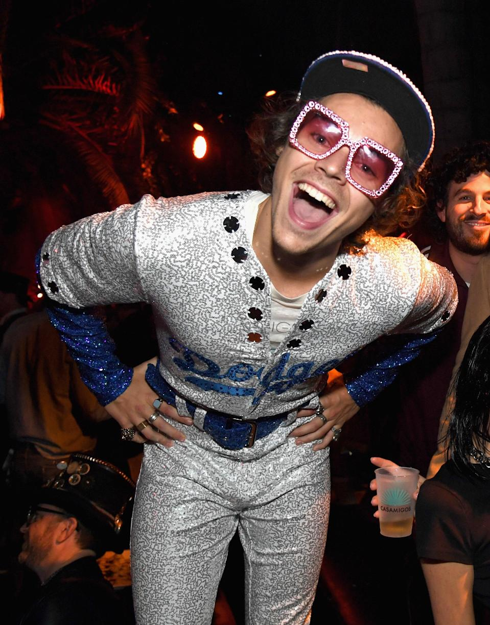 Harry's 2018 Halloween costume pays homage to the great Sir Elton John's bedazzled baseball uniform from Dodgers Stadium. Frankly, he snapped!