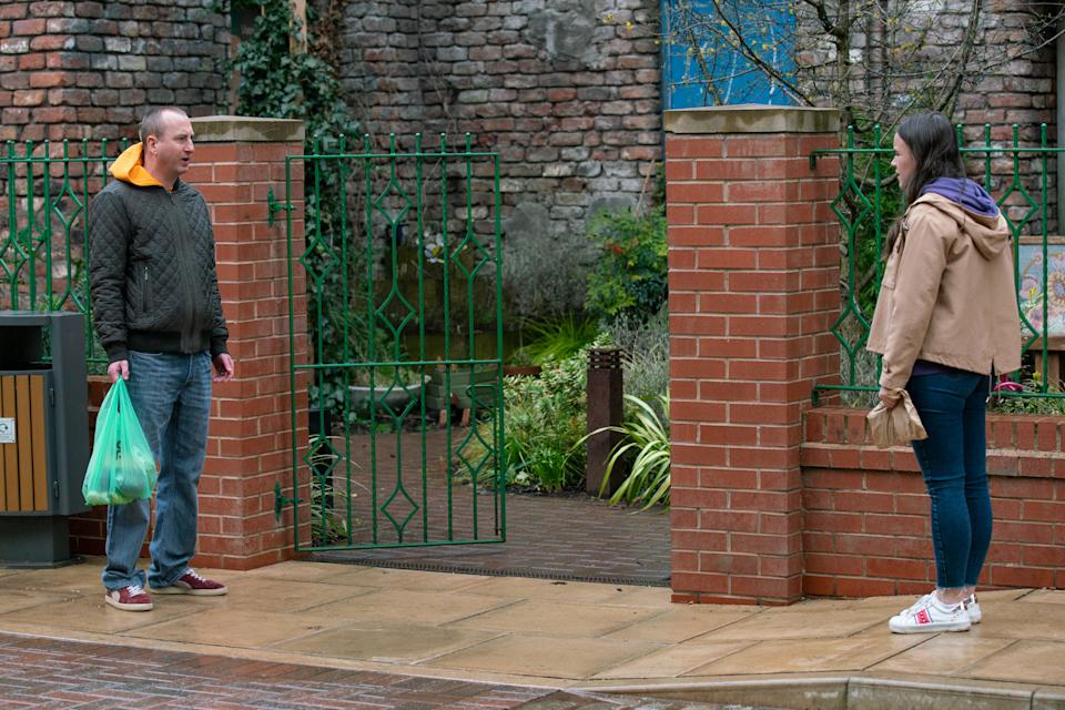 FROM ITV  STRICT EMBARGO - No Use Before Tuesday 13th April 2021  Coronation Street - Ep 10303  Monday 19th April 2021 - 1st Ep  Kirk Sutherland [ANDY WHYMENT] finds Faye Windass [ELLE LEACH] in Victoria Gardens and tells her about Craig's decision to resign from the police force. An   Picture contact David.crook@itv.com   Photographer - Danielle Baguley  This photograph is (C) ITV Plc and can only be reproduced for editorial purposes directly in connection with the programme or event mentioned above, or ITV plc. Once made available by ITV plc Picture Desk, this photograph can be reproduced once only up until the transmission [TX] date and no reproduction fee will be charged. Any subsequent usage may incur a fee. This photograph must not be manipulated [excluding basic cropping] in a manner which alters the visual appearance of the person photographed deemed detrimental or inappropriate by ITV plc Picture Desk. This photograph must not be syndicated to any other company, publication or website, or permanently archived, without the express written permission of ITV Picture Desk. Full Terms and conditions are available on  www.itv.com/presscentre/itvpictures/terms