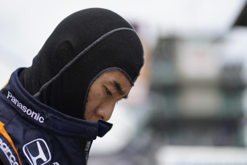 Takuma Sato, of Japan, prepares to drive during practice for the Indianapolis 500 auto race at Indianapolis Motor Speedway, Wednesday, May 19, 2021, in Indianapolis. (AP Photo/Darron Cummings)