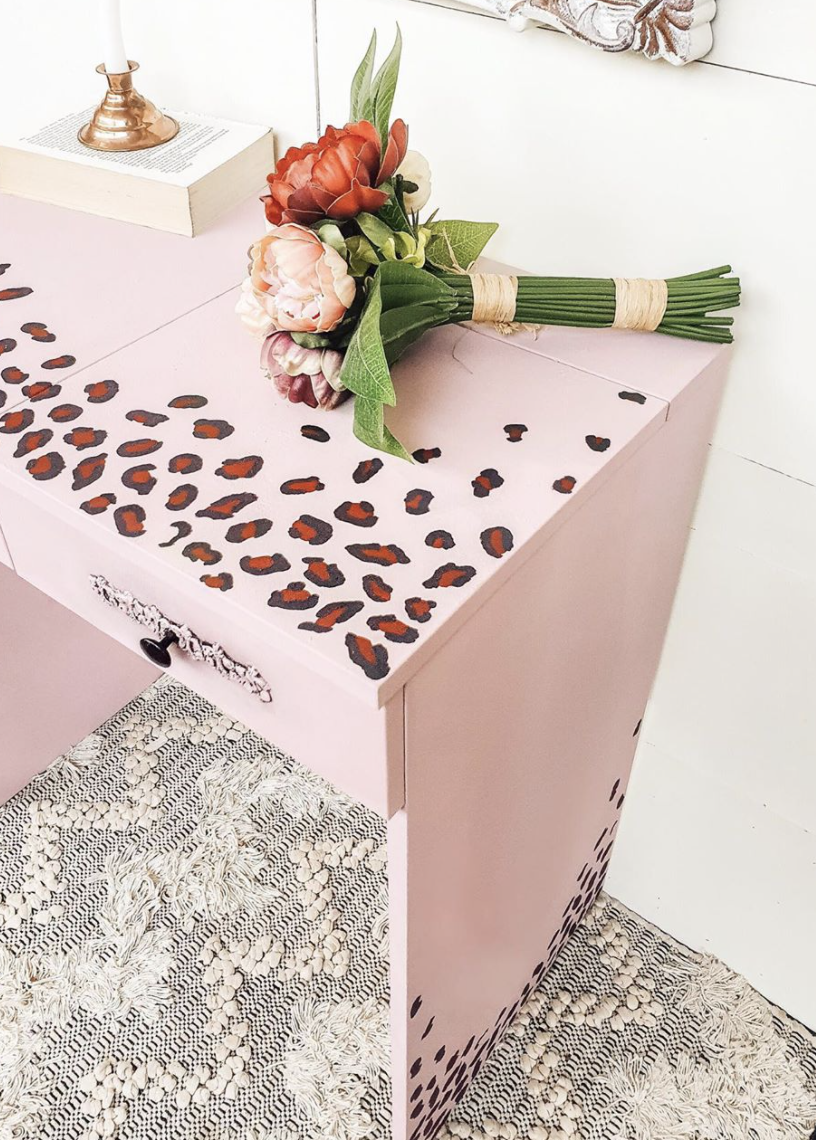A close-up of the leopard print stencilling. Photo: Instagram/_owl_and_the_willow_.