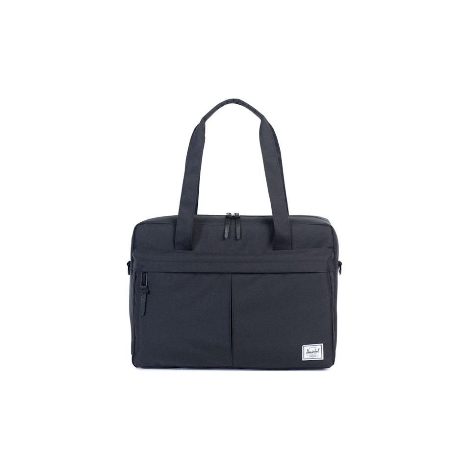 """<p>If his work briefcase or bag is looking like it's seen better days, this messenger will be a good replacement. It's briefcase-style, so it's fit for both startup and corporate offices. Inside there's a laptop sleeve and zippered internal organizers, while outside there's a large front pocket. In addition to the handles, there's also a removable shoulder strap.</p> <p><strong>To buy:</strong> $80; <a href=""""https://www.amazon.com/Herschel-Supply-Co-Gibson-Messenger/dp/B012I0PFRW/ref=as_li_ss_tl?ie=UTF8&camp=1789&creative=9325&linkCode=as2&creativeASIN=B012I0PFRW&tag=reasim03-20&ascsubtag=d41d8cd98f00b204e9800998ecf8427e"""" target=""""_blank"""">amazon.com</a>.</p>"""