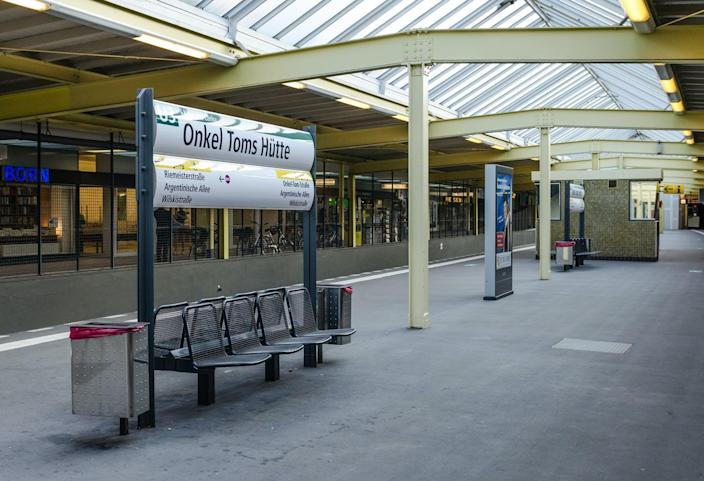 """<span class=""""caption"""">'Onkel Toms Hütte' – or Uncle Tom's Cabin – is the name of a subway station in Berlin.</span> <span class=""""attribution""""><a class=""""link rapid-noclick-resp"""" href=""""https://upload.wikimedia.org/wikipedia/commons/e/eb/U-Bahnhof_Onkel_Toms_H%C3%BCtte_20130705_8.jpg"""" rel=""""nofollow noopener"""" target=""""_blank"""" data-ylk=""""slk:DXR via Wikimedia Commons"""">DXR via Wikimedia Commons</a>, <a class=""""link rapid-noclick-resp"""" href=""""http://creativecommons.org/licenses/by-sa/4.0/"""" rel=""""nofollow noopener"""" target=""""_blank"""" data-ylk=""""slk:CC BY-SA"""">CC BY-SA</a></span>"""