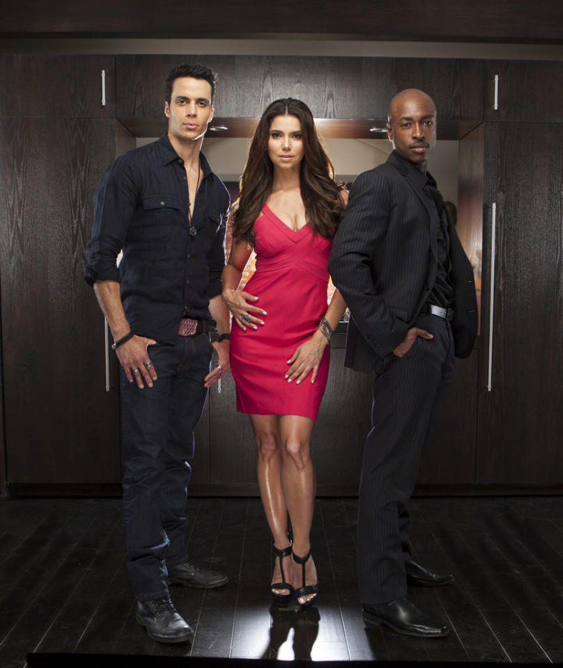 "Matt Cedeno, Roselyn Sanchez and Wole Parks in the Lifetime series ""Devious Maids."""