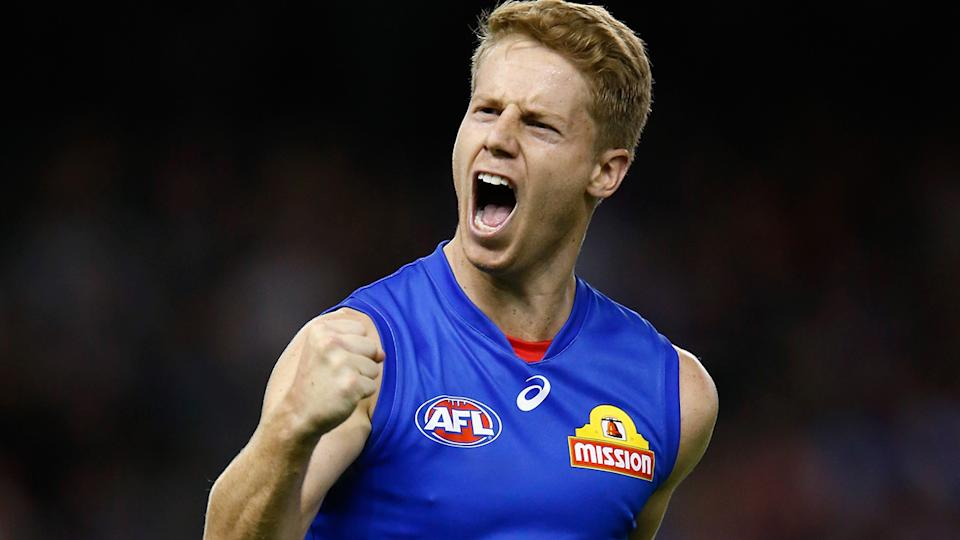 Lachie Hunter, pictured here in action for the Western Bulldogs in 2018.