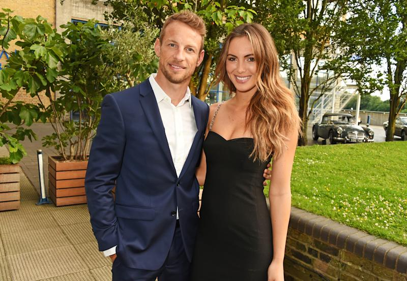 LONDON, ENGLAND - JUNE 22: Jenson Button (L) and Brittny Ward attend a private dinner hosted by Michael Kors to celebrate the new Regent Street Flagship store opening at The River Cafe on June 22, 2016 in London, England. (Photo by David M. Benett/Dave Benett/Getty Images for Michael Kors)