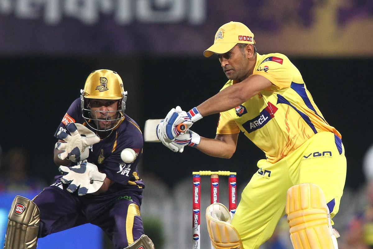 Chennai Super Kings captain MS Dhoni cuts a delivery during match 26 of the Pepsi Indian Premier League between The Kolkata Knight Riders and the Chennai Superkings held at the Eden Gardens Stadium in Kolkata on the 20th April 2013..Photo by Shaun Roy-IPL-SPORTZPICS  ..Use of this image is subject to the terms and conditions as outlined by the BCCI. These terms can be found by following this link:..https://ec.yimg.com/ec?url=http%3a%2f%2fwww.sportzpics.co.za%2fimage%2fI0000SoRagM2cIEc&t=1495607599&sig=mmFxNTf6wfZ0tqTnF9psHA--~C