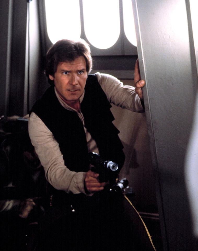 """<b>Change is Good</b><br>Lucas's first draft introduced not only the young hero who would become Luke Skywalker, but also the intergalactic smuggler, Han Solo, and his sidekick, Chewbacca. However, in this early iteration, Han was imagined as a """"<a href=""""http://www.enotes.com/topic/Star_Wars_Episode_IV:_A_New_Hope#cite_note-15"""">green-skinned monster with gills</a>."""""""