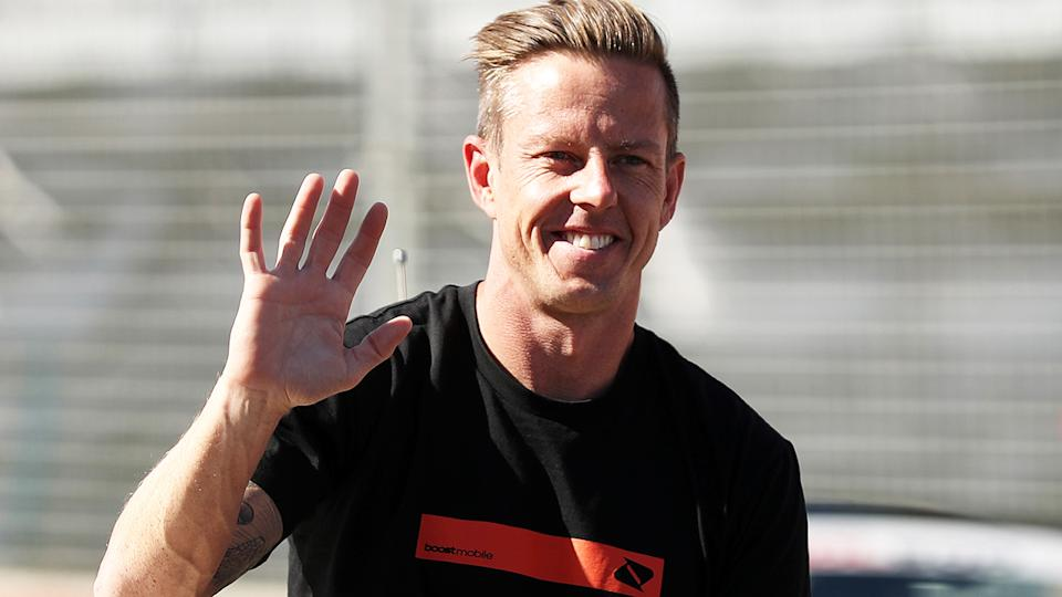 James Courtney, pictured here during the drivers' parade at the opening round of the 2020 Supercars season.