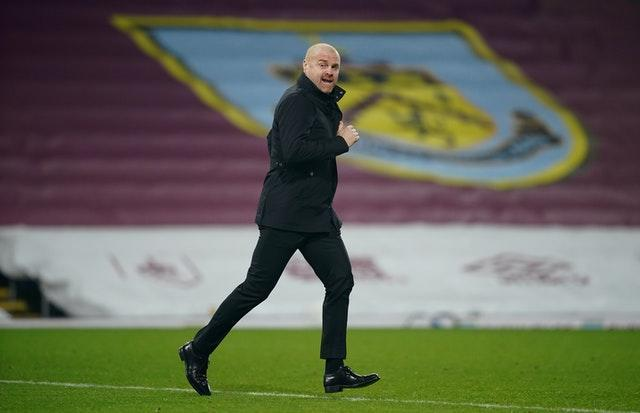 Burnley manager Sean Dyche runs to the touchline at Turf Moor