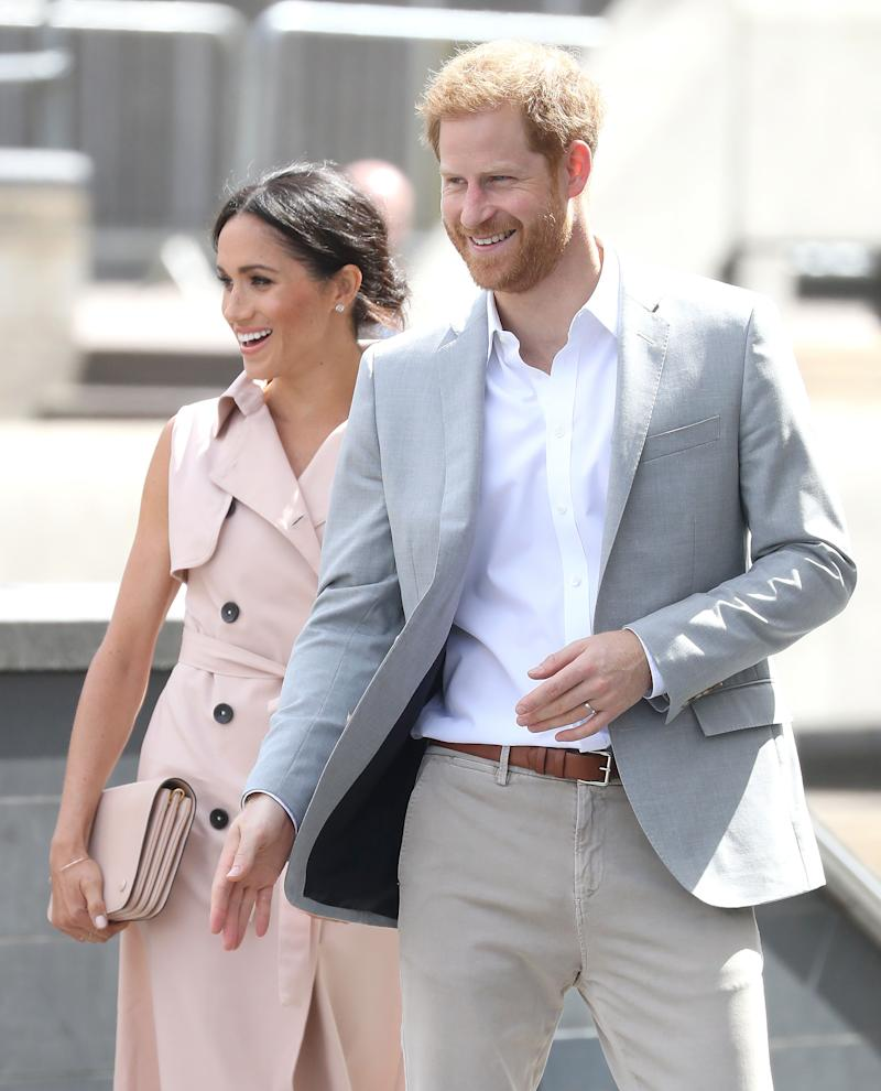 The Duke and Duchess of Sussexvisit the Nelson Mandela Centenary Exhibition on Tuesdayin London. (Photo: Chris Jackson via Getty Images)