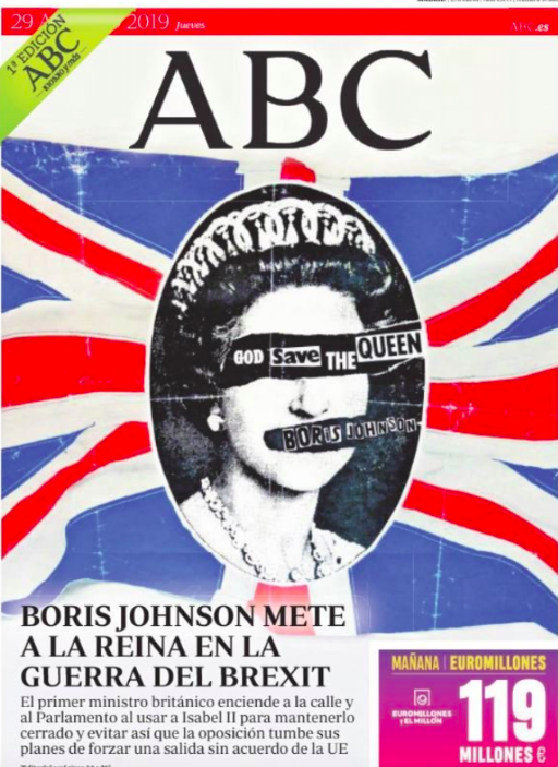 Spanish daily ABC relayed the news with a symbol of anarchy, doctoring the cover of 1970s punk rock hit God Save The Queen to substitute the name of the Sex Pistols with that of Boris Johnson. (Twitter)