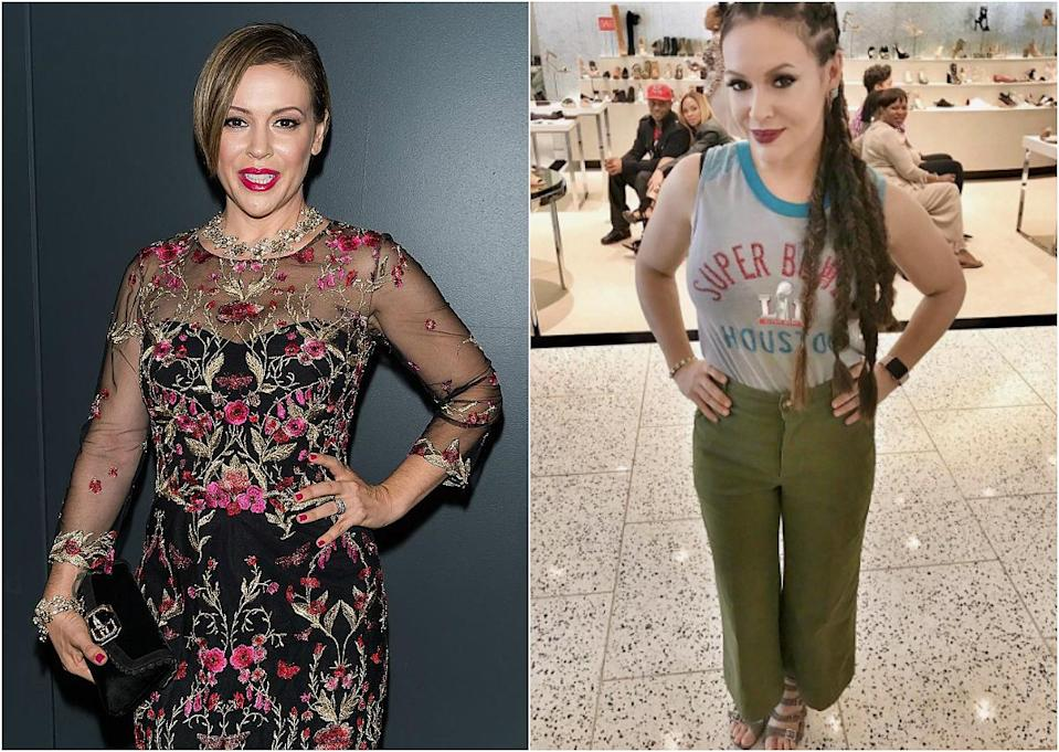 """<p><b>When: February 2017 </b><br>Alyssa Milano rocked cornrows for Super Bowl weekend! The former """"Who's the Boss"""" star showed off the youthful new 'do, slayed baby hairs, feeded-in cornrows ending in sleek fishtail plaits, on <a href=""""https://www.instagram.com/p/BQEH5Hagqe2/"""" rel=""""nofollow noopener"""" target=""""_blank"""" data-ylk=""""slk:Instagram"""" class=""""link rapid-noclick-resp""""> Instagram </a> —but we can't help but notice the hilarious reactions from a few of the patrons caught on camera! Are you loving the 'do? <i>(Photos: Getty/Instagram/February 2017)</i> </p>"""