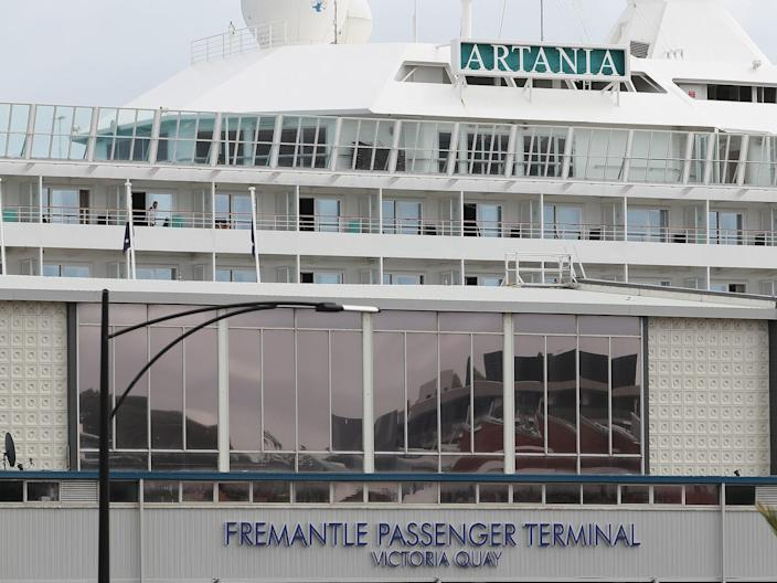 The MV Artania at the Fremantle Passenger Terminal on March 27, 2020.