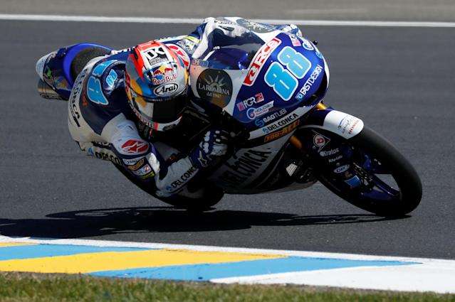 Motorcycling - Moto3 - French Grand Prix - Bugatti Circuit, Le Mans, France - May 19, 2018 Del Conca Gresini Moto3's Jorge Martin during qualifying REUTERS/Gonzalo Fuentes