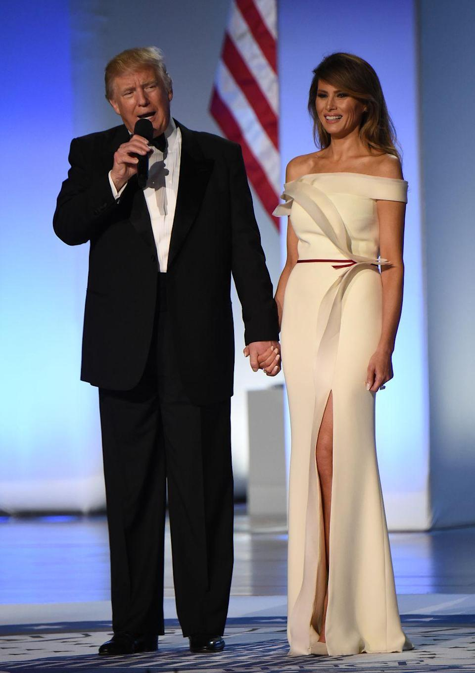 """<p>If a designer gifts an outfit to the president or first lady, it can only be worn once and has to be donated afterwards. For example, <a href=""""https://www.washingtonpost.com/news/reliable-source/wp/2017/10/20/melania-trump-donates-her-inaugural-ball-gown-to-the-smithsonian/"""" rel=""""nofollow noopener"""" target=""""_blank"""" data-ylk=""""slk:Melania Trump"""" class=""""link rapid-noclick-resp"""">Melania Trump</a> and <a href=""""https://americanhistory.si.edu/press/releases/smithsonian-accepts-michelle-obama%E2%80%99s-inaugural-ball-gown"""" rel=""""nofollow noopener"""" target=""""_blank"""" data-ylk=""""slk:Michelle Obama"""" class=""""link rapid-noclick-resp"""">Michelle Obama</a> both donated their inauguration gowns to the Smithsonian. Of course, first ladies are allowed to purchase designer clothing for themselves, but they're expected to pay full price just like anyone else.</p>"""