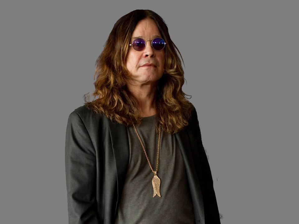 Ozzy Osbourne headshot, British rock singer, graphic element on gray