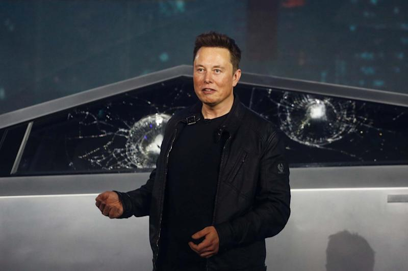 Elon Musk has been spotted driving over a traffic cone as he showed off the electric Cybertruck: AP