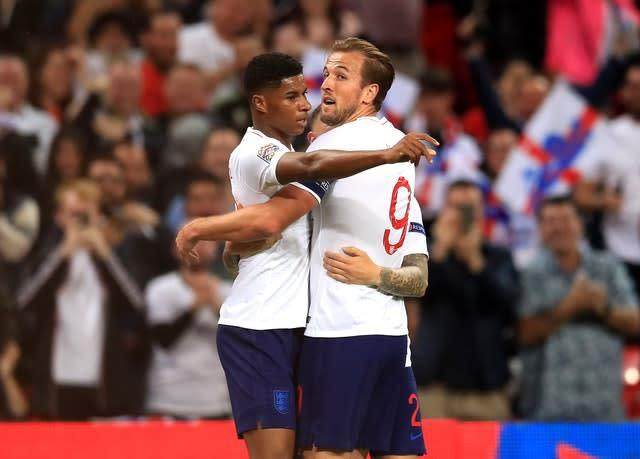 Harry Kane, right, and Marcus Rashford are valued over £100m (Adam Davy/PA)