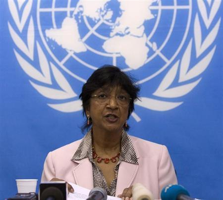 UN High Commissioner for Human Rights Pillay addresses a news conference in Bangui