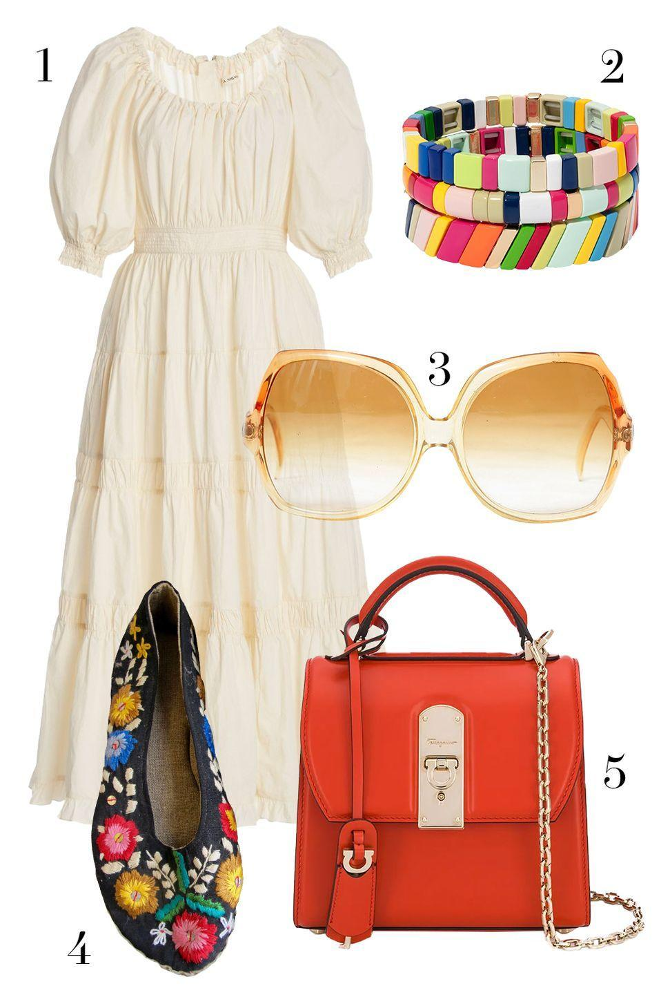 "<p>A flowy white dress and 70s-style sunnies will having you playing The Beatles, Bowie, and Fleetwood Mac on repeat, but practical floral flats and a new purse offer modern conveniences. </p><p><strong>More:</strong> <a href=""https://www.townandcountrymag.com/style/fashion-trends/g28943129/70s-style-trends-inspiration/"" rel=""nofollow noopener"" target=""_blank"" data-ylk=""slk:70's Trends"" class=""link rapid-noclick-resp"">70's Trends</a></p><p> 1. <a href=""https://go.skimresources.com?id=74968X1525087&xs=1&url=https%3A%2F%2Fwww.modaoperandi.com%2Fulla-johnson-pf20%2Fcolette-shirred-cotton-midi-dress"" rel=""nofollow noopener"" target=""_blank"" data-ylk=""slk:Ulla Johnson"" class=""link rapid-noclick-resp"">Ulla Johnson</a> 2. <a href=""https://go.skimresources.com?id=74968X1525087&xs=1&url=https%3A%2F%2Fwww.net-a-porter.com%2Fen-us%2Fshop%2Fproduct%2Froxanne-assoulin%2Ffruit-stripe-set-of-three-enamel-and-gold-plated-bracelets%2F1258937"" rel=""nofollow noopener"" target=""_blank"" data-ylk=""slk:Roxanne Assoulin"" class=""link rapid-noclick-resp"">Roxanne Assoulin</a> 3. <a href=""https://go.skimresources.com?id=74968X1525087&xs=1&url=https%3A%2F%2Fwww.resee.com%2Fvintage-oversized-sunglasses.html"" rel=""nofollow noopener"" target=""_blank"" data-ylk=""slk:Vintage sunglasses via Resee"" class=""link rapid-noclick-resp"">Vintage sunglasses via Resee</a> 4. <a href=""https://go.skimresources.com?id=74968X1525087&xs=1&url=https%3A%2F%2Fnomadvintage.com%2Fcollections%2Fclothing%2Fproducts%2Ffloral-embroidered-slippers"" rel=""nofollow noopener"" target=""_blank"" data-ylk=""slk:Shoes via Nomad Vintage"" class=""link rapid-noclick-resp"">Shoes via Nomad Vintage</a> 5. <a href=""https://go.skimresources.com?id=74968X1525087&xs=1&url=https%3A%2F%2Fwww.farfetch.com%2Fshopping%2Fwomen%2Fsalvatore-ferragamo-mini-boxyz-tote-bag-item-14699991.aspx%3Fstoreid%3D9317"" rel=""nofollow noopener"" target=""_blank"" data-ylk=""slk:Salvatore Ferragamo"" class=""link rapid-noclick-resp"">Salvatore Ferragamo</a></p>"