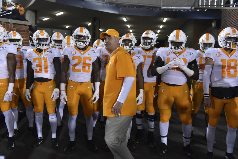 COLUMBIA, MO - NOVEMBER 23: Head coach Jeremy Pruitt of the Tennessee Volunteers prepares to lead his team to the field against the Missouri Tigers at Memorial Stadium on November 23, 2019 in Columbia, Missouri. (Photo by Ed Zurga/Getty Images)