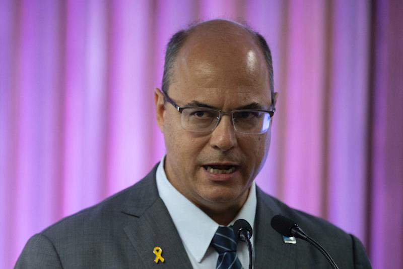 "Rio de Janeiro's Governor Wilson Witzel (pictured May 2019), who presided over a record number of police killings in the first three months of his term, said that Rio residents were living in a ""state of terrorism"""
