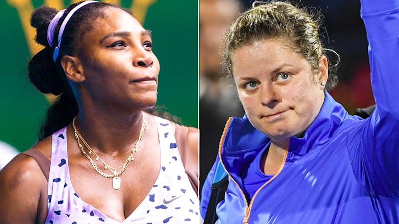 Serena Williams, pictured left, has taken to social media to praise Kim Clijsters, right, for her professional comeback.