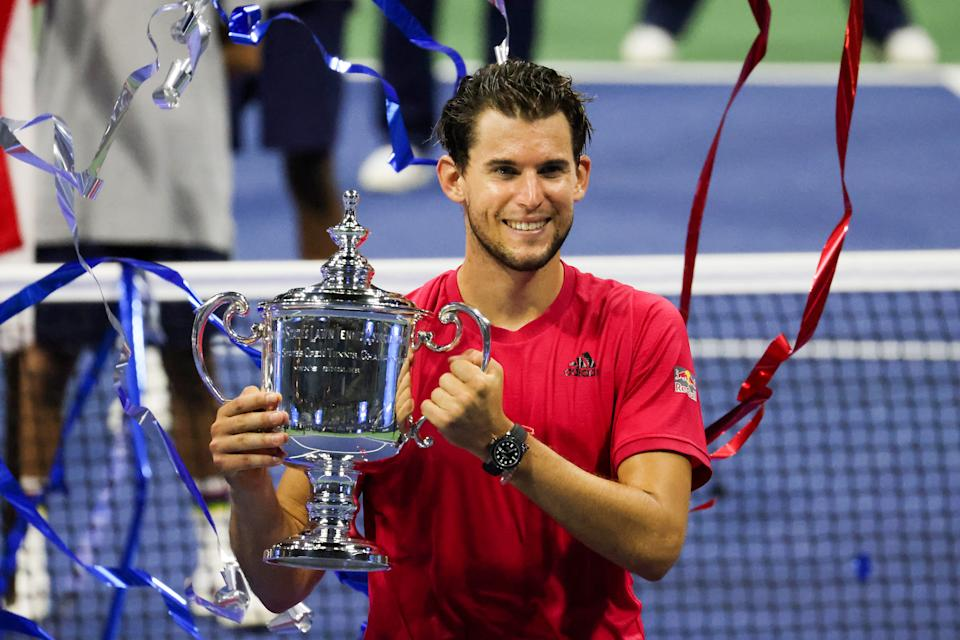 Dominic Thiem (pictured) celebrates after winning the US Open title in 2020.