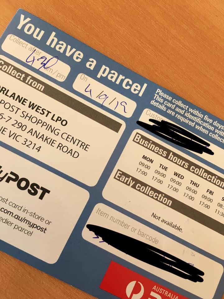 An Australia Post collection notice left in lieu of a parcel. Source: Facebook